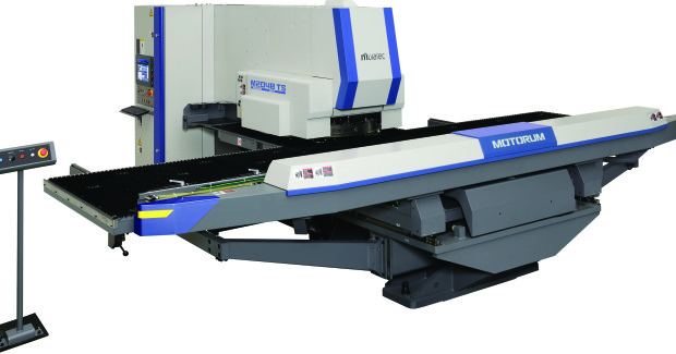 The M2048TS uses retractable forming tools that eliminate forming die interference on a large table that accommodates 8 ft sheets without a reposition and 16 ft long sheets with a single reposition.