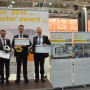 The winners of the 2014 vector awards were honored at the Hannover Messe Trade Fair. (l-r) Harald Nehrin; igus Gmbh, Dieter Bencer; igus Austria, FronTone Australia representative, Dr. Tobias Bruckmann; University of Duisburg-Essen, Norbert Muche; Otto Bihler Maschinenfabrik GmbH.