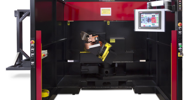 The human-machine interface allows operators to control, monitor and collect data from the system with a simple touchscreen on a hand-held device that provides a realistic view of the robotic welding systems, from operating trends to productivity tracking, along with crucial alerts for troubleshooting should operational issues occur during the welding process.