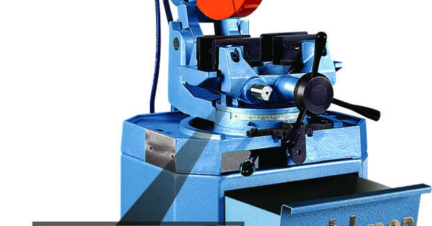 The CPO 350 Circular Cold Saw has 135 deg mitering ability and a miter-locking device that automatically stops at 45 deg left, 90 deg straight, and 45 deg right, giving it the ability to slot and notch.