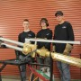The team of (l-r) Matt Focht, Jack Daniel and Brett Eschliman created this giant torch — a perfect 6:1 scale of a Victor 100C torch — and used a weed burner to simulate the flame.
