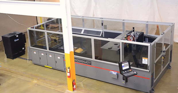 BAAM incorporates additive manufacturing technology with the machine base of Cincinnati's state-of-the-art laser cutting system, creating a prototype, large-scale additive manufacturing system. The research team will eventually integrate a high-speed cutting tool, pellet feed mechanism and control software into the gantry system to offer additional capabilities. (Photo courtesy of Cincinnati Incorporated)