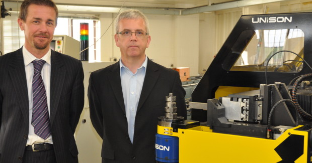 SL Engineering directors Shaun Stevenson (left) and Steve Eggleton, alongside the 30 mm Unison tube bending machine.
