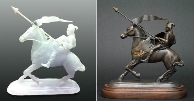 The SLA model (left) helped develop the model that would be used to produce the bronze sculpture for the Desert Snow Training Program Award.