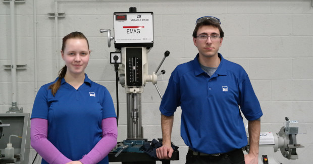 Rebekka Neumann and Matthew Combs, Apprentice Mechatronics Technicians on the EMAG shop floor.