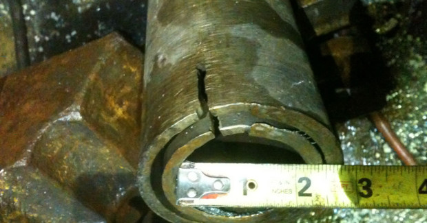 A very small casing sever and slot, cut at 300 ft deep. (Photo courtesy Centura Oil Inc.)
