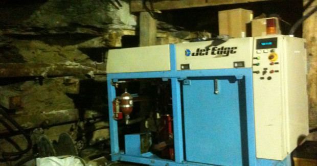 A Jet Edge pump located 2,000 ft below the surface, inside a mine. (Photo courtesy Centura Oil Inc.)