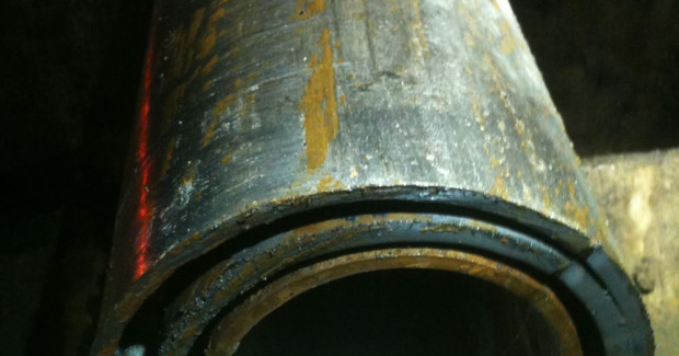 Three layers of casing, cut at 300 ft deep, recovered after overcoring. (Photo courtesy Centura Oil Inc.)