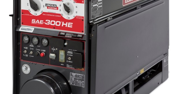 The SAE-300 HE from Lincoln Electric is 300 amp-rated at 60 percent duty cycle with Dual Continuous Control™ to allow precise setting of both voltage and current, offers 390 amp maximum output, with arc gouging up to ¼ in (6.3 mm) carbons, and all-copper windings of the rotating armature/field coil system to enhance arc stability, dependability and long life.