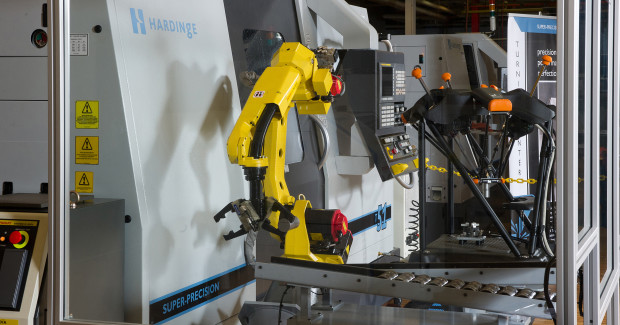 This automated machine-tending package, designed by Gosiger Automation, features a Fanuc M-10iA six-axis, industrial robot integrated to a Hardinge T-51 CNC multi-function sub-spindle lathe and a Renishaw Equator™ programmable comparative gage.