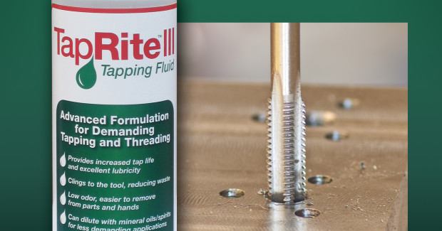 TapRite III fluid from JTM Products is a chlorinated oil/wax gel concentrate that clings to the tap to reduce waste, but is easier to remove from parts and hands than other widely-used tapping fluids. It can be used straight or can be diluted with mineral oil or spirits for less demanding applications.