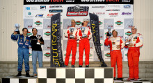 The Autobahn Endurance Racing Series June podium.