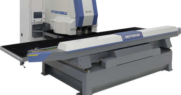 The latest machine and tooling technology on both the Motorum M3048TG and M3058TG (shown here) reduces post processes while supporting tapping, forming, marking, deburring, and various automation options. Two-piece, heavy-duty frames with a pyramid-base design also provide rigid stability even at maximum tonnage.