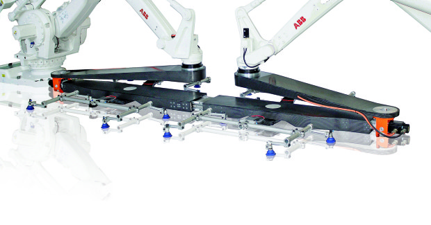 The Twin Robot Xbar (TRX) parts transfer system has an output rate of up to 16 parts per minute for big panels in tandem press lines and can be retrofitted to existing press lines, setting it apart from similar systems which require additional space between the upright and bolster.