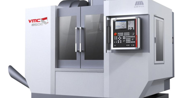 The VMC850E has travels of 33 in X, 19 in Y, and 21 in Z. The machine comes standard with an 8,000 rpm 40 taper spindle, 24 position automatic tool changer, coolant through the spindle, 4th axis preparation, air-conditioned electrical cabinet and a chip conveyor. The machine is controlled by the powerful and reliable FANUC 0i-MD control with a 10 in screen and USB, PCMIA, and Ethernet interfaces.
