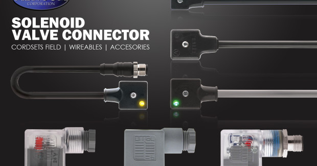 Booth E-4674: Mencom Solenoid Valve Connectors meet the DIN 43650 Industry Standard and are ideal for providing power and protection to solenoid valves and PLCs on the factory floor. Squared DIN style valve connectors reduce wiring time and improve efficiency.  Users can specify circuit, component type, pin count, AMP rating, voltage rating, wire gauge, color code, gender, cable jacket material, jacket color, cable length, shell/coupling nut material, mounting thread, coupling thread, head orientation, and ingress protection.
