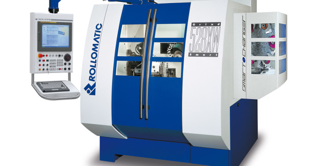 Booth N-7200: The modified GrindSmart 528XW® with SmartChanger® from Rollomatic performs fluting with a Tyrolit D54 XP-P grinding wheel and a razor-sharp cutting edge with the polish wheel to achieve feed rates of 80 mm/min first pass, 160 mm/min second pass, and a cutting speed of 18 m/s. (second view)