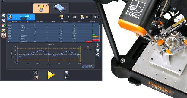 Booth E-5510: The new Equator comparative gauging system process monitoring software from Renishaw displays measurement results of inspected features, as well as the measurement history of each feature, instantly via a monitoring window added to the shop-floor user interface.