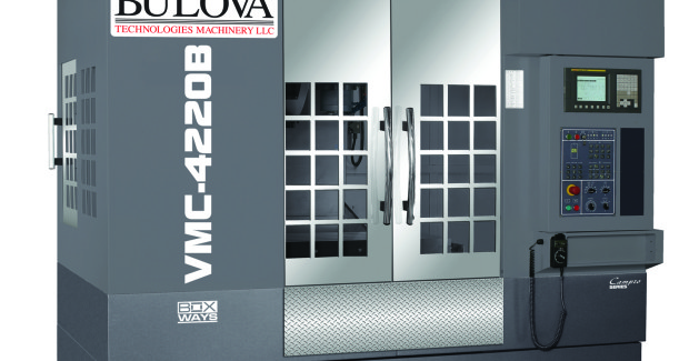 Booth S-9482: The VMC 4220 precision Box Ways Linear Machining Center from Bulova comes in a 125 in L x 96 in W x 120 in H footprint with box way construction on all three axes. It has axis travels of 42 in X, 20.9 in Y, and 30.7 in Z; a 12,000 rpm spindle speed and 20/ 15 hp spindle power (max/cont) designed for power, speed and accuracy.