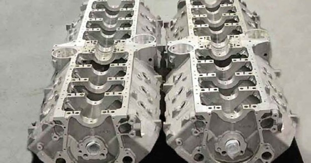 Dart produces about 8,000 engine blocks a year in various grades of cast iron and aluminum, as well as machined from forged billet aluminum. The company prides itself on producing blocks in high volume with wide variation of configurations. (first view)
