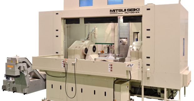 Booth S-8519: The HU100-5X machining center from Mitsui Seiki that will be at the show is ideal for larger aerospace and power generation parts, featuring an X, Y, Z work zone capacity of 1500 mm x 1200 mm x 1200 mm. It accommodates a weight up to 4,400 lb (2000 kg). Other compelling features include maximum spindle torque of 2,000 ft-lb, HSK 125A tool taper, dual pallet changer, an automatic workpiece/fixture measuring and compensation system, non-contact laser tool setting device, 3D tool compensation, dynamic feature offset, and Fanuc 30iM control.