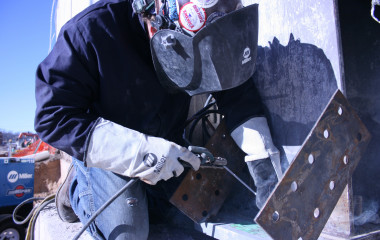 When welding in the flat and horizontal positions, point/drag the electrode 5 deg to 15 deg away from the direction of travel to help reduce the chance of trapping slag in the weld. The weld bead width should usually be two and half times the diameter of the electrode's core wire for flat and horizontal welds.