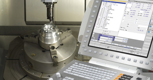 """Booth E-5248: The new TNC 640 high end milling control with milling/turning capability from Heidenhain features a new design, improved 3D program verification graphics and """"advanced Dynamic Prediction"""" that guarantee calculation of the optimum speed for precise and smooth surfaces."""