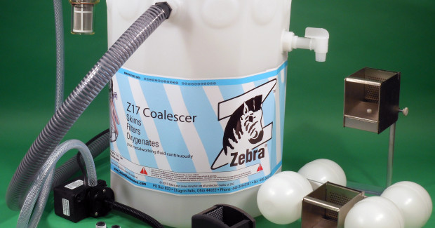 Booth N-6790: The FZ17 System from Zebra Skimmers is ideal for removing tramp oils from machine tool coolant sumps while introducing oxygen back into the sump to slow down the process of establishing bacteria. The system is flexible enough to service everything from small machine tools up to large boring mills.