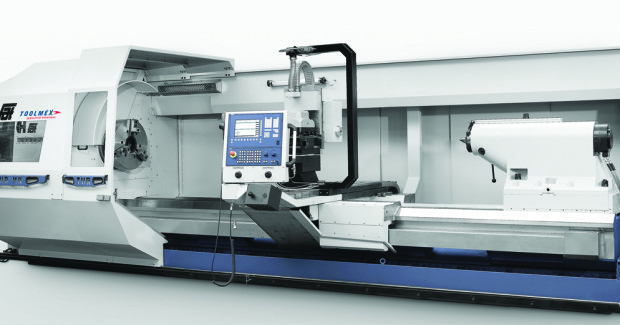 Booth S-9449: The TUR1550MN 4-Axis turning center from Toolmex, with its 61 in swing over bed, 43.3 in swing over saddle and available from 78 in to 707 in between centers, has the capacity to handle the biggest jobs it encounters. The show lathe will feature the 4-axis version: X-, Z-, C- with live tooling and Y-axis vertical for larger keyways or milling large flats on outside diameter. With a massive, extra stable 40 in/43 in wide bed along with its large spindle bores options (5.5 in to 24 in), the TUR1550MN is built for heavy workloads up to 33,000 lb with option to 50,000 lb.