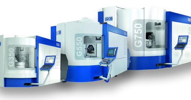 Booth S-9490: The mid-size G-550T universal machining center from Grob (shown in the center) has a turning option for parts up to 900 mm in cylinder (Ø 35.4 in). Its high-speed table rotates at 800 rpm while compensating for uneven loads. Maximum part height is 730 mm (28.7 in), and longest tool is 500 mm (19.6 in).