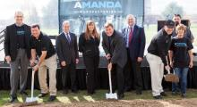 The Amanda Manufacturing leadership and team, along with Ohio elective officials, break ground on the $5 million plant expansion. (Photo courtesy of PRNewsFoto/Amanda Manufacturing)