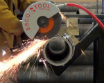 The MILLHOG® APS-438 Air Powered Saw and steel WrapTrack® System, which produces square cuts with 1/8 in accuracy, is available from 6 in to 60 in diameter.