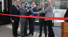 From left-right: James Jackson, Head of Business Unit Americas for GF Piping Systems; Pietro Lori, Head of GF Piping Systems & Member of the Executive Committee in Switzerland; Glynn Fletcher, President GF Machining Solutions Americas; Irvine Mayor Steven S. Choi, Ph.D.; and State Assembly Republican Member Donald P. Wagner (68th Assembly District).