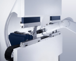 This system shows a press brake and robot that are specially designed to work together in a fully integrated system. The benefit of this investment is that all components are designed to work together in a system that is more flexible and requires less manpower and intervention than a semi-integrated option.