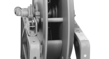 A declutching arbor and non-sparking ratchet assembly prevents damage when reverse winding SWCR Series reels from Hannay.