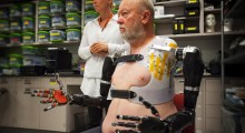 Les Baugh, who lost both arms in an electrical accident 40 years ago, was fitted for a custom socket for his torso and shoulders that supports the prosthetic limbs and also makes the neurological connections with the reinnervated nerves.