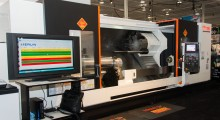 The MERLIN system from Memex Automation is a manufacturing execution system (MES) that monitors a Mazak Slant Turn Nexus 600 big-bore turning center. The display screen at left shows real time data such as OEE, availability, performance and quality. (Photo courtesy of Mazak Corporation)