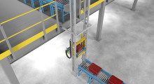 The XpressLift Automated VRC meets ANSI/ASME B20.1 Safety Standards for Conveyors and quickly transfers material weighing up to 75 lb at speeds up to 350 fpm up distances to 18 ft high. Local vertical and horizontal jog control and lift diagnostics simplify troubleshooting and preventative maintenance.