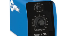 An Argon-CO2 Gas Mixer from Miller Electric. Proportional gas mixers reduce setup time, reduce costs associated with pre-mixed gases and reduce the number of cylinders stored in the facility. No electricity is required, and a simple interface allows for easy operation and training.