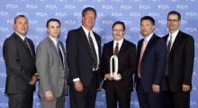 Participating in the awards ceremony were Scott Garberding (far right), the head of group purchasing for Fiat Chrysler Automobiles N.V. (FCA), and Tom Finelli (second from right), the head of North America group purchasing for FCA US, who presented the award to Vari-Form executives Doug Viohl and Randy Nicholls (center). Also present were Christopher Barrette, the head of Supplier Delivery Risk Management for FCA US, and Steven Beahm, the senior vice president of supply chain management for FCA, North America (left).