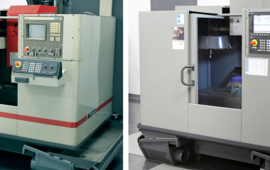 Retrofitting a Cincinnati Milacron Dart 500 vertical machining center, before (left) and after (right). Control technology is now evolving so rapidly that some machine tools only a few years old are no longer competitive. The tipping point on a retrofit job is 60 percent of the price of a new machine. The challenge is to determine whether it will make an appreciable difference in machine performance of the machine.