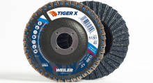 Booth N-22025: The new Tiger X flap disc from Weiler Corporation combines a triple split coat grain anchoring system, dual flap design and engineered abrasive cloth backing with intermixed ceramic alumina and zirconia alumina materials for a faster grind rate while increasing life.