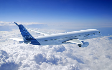 The Airbus A350 XWB long-range, twin-engine wide-body jet airliner uses a titanium cabin bracket produced by additive manufacturing. The aircraft manufacturer sees great potential for additively manufactured engine parts and structural components with dimensions of up to one meter. (Photo courtesy of Airbus)