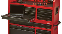 With 16 drawers that include 100 lb soft close slides, and two that include a second set of slides to support 200 lb, the 46 in Steel Storage Chest and Cabinet from Milwaukee Tool can support a weight capacity of 1,800 lb. Every inch of the space is maximized with features such as a built-in power center for instant access to power and a pull-out work surface for using and storing a laptop or documents.