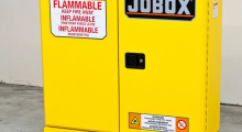 JOBOX Flammable Liquid Storage Cabinets from Apex Tool are UL Listed and have an industry-first EZ-Level Bolster System with an anti-tip feature that extends the base footprint beyond the width of the cabinet for improved stability and resistance to tipping. These cabinets have double wall construction, durable powder-coat paint and 2.5 in thick doors.