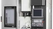 The compact MU-4000V 5-axis vertical machining center from Okuma provides a large work envelope with high speed, process intensive machining combined with turning and 5-axis multitasking machining that is ideal for aerospace and other parts that require full 5-axis capabilities.