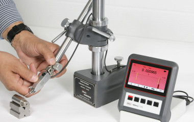 The Millimar C1200 from Mahr Federal uses a digital display to produce the smooth motion of an analog meter. Users can view the analog scale, numeric digital readings, or both. Display range is ±5000 µm and reading resolution 0.1 µm. The display may be adjusted to the ideal viewing angle (0 deg to 90 deg) and the C1200 unit can also be wall-mounted.
