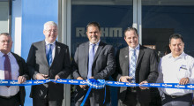The ribbon cutting ceremony: Röhm Products of America CEO Matthew Mayer (second from right), Röhm GmbH CEO Dr. Robert Buchmann (second from left) and Rodolfo Espeleta, managing director of Röhm Products Mexico (center).
