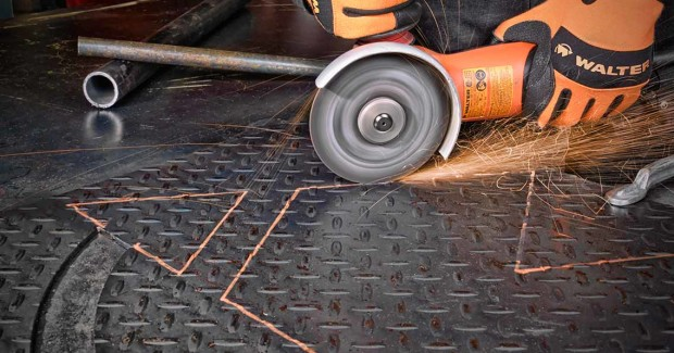 The 1/16 in thick ZIP+ XTRA cutting wheel from Walter Surface Technologies easily cuts through steel or stainless steel in heavy duty applications with an exclusive, patented rib design that reduces friction on the surface for faster and cooler cutting.