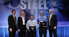 Pictured (l-r) at the 15th annual Great Designs in Steel seminar are Roger Newport, the chief executive officer of AK Steel Corporation; Dr. Jody Hall, the vice president of the automotive market for SMDI; award recipients Kou Khang of Gestamp and Shawn Crichley of Honda R&D; and Lawrence W. Kavanagh, the president of SMDI.